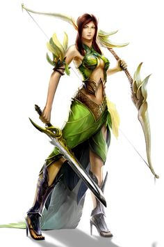 Archer and warrior, female elf - Runes of Magic