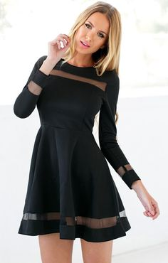 Make room for one more LBD in your closet because this black mesh panel skater dress is something you'll want to have.