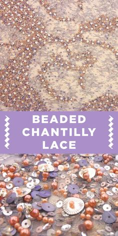 Exquisitely Beaded Purple and Peach Chantilly Lace {Great for springtime fashion!}