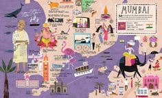 Mumbai >City Atlas: Discover the personality of the world's best-loved cities in this illustrated book of maps-Georgia Cherry / Martin Haake Mumbai Map, Mumbai City, Travel Maps, Travel Posters, Travel Set, India Travel, Travel Guide, Travel Destinations, Travel Illustration