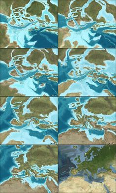 This second sequence, showing the next phase in the evolution of Europe, begins approximately 150 million years ago and extends to the present day. All maps by Ron Blakey.