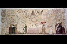 ANTEPENDIUM LM-4693 Antependium. Christi Auferstehung. Die vielfach gewundenen Spruchbänder belegen den grössten Teil der Bildfläche. Herstellung anonym. Tempera auf Leinwand, ungrundiert;; Rahmen: Holz. Datiert 1516. Herkunft: Sarnen (OW), Frauenkloster St. Andreas. Masse: Höhe 92 cm, Breite 222.5 cm. (LM-4693) Lit.: 'L. Wüthrich/M. Ruoss, Katalog der Gemälde, Schweizerisches Landesmuseum, Zürich 1996', Nummer 86
