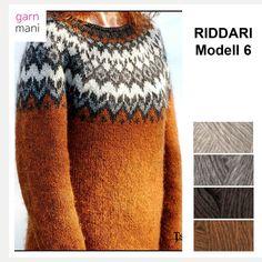 Bilderesultat for riddari dame Icelandic Sweaters, Wool Sweaters, Free Knitting, Baby Knitting, Cowichan Sweater, Fair Isle Knitting Patterns, Nordic Sweater, Knit Baby Booties, Knit Crochet