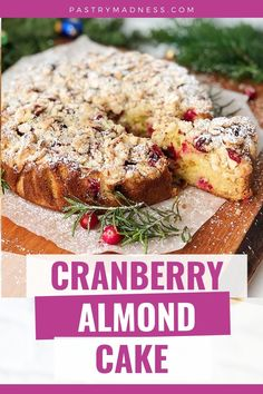Today I want to show you how to make Cranberry Almond Cake. This moist and tender cake, with the sourness of cranberries and the crunch of almond topping makes the perfect snack for a hot cup of coffee on a winter's day. Homemade Cake Recipes, Baking Recipes, Cranberry Almond, Almond Cakes, Pastry Cake, Cake Batter, Cranberries, Melted Butter, Sour Cream