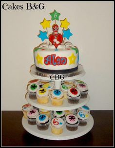 Power Rangers cake and matching cupcakes - Cake by cakesbg
