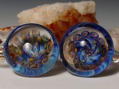 4 gauge weights ear stretchers plug  handblown glass pendant piercing jewelry. $49.95, via Etsy.