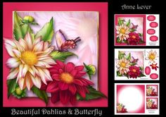 Beautiful Dahlias Butterfly on Craftsuprint designed by Anne Lever - This lovely mini kit makes an 8x8 square topper with extra plaque, decoupage, five greetings, a blank greetings tile, two gift tag toppers and a matching insert. It features beautiful dahlias and butterfly. - Now available for download!