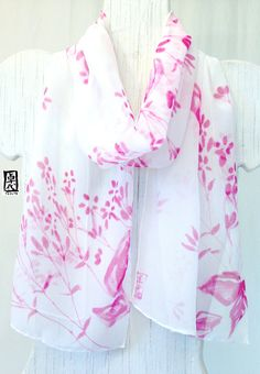 White Silk Scarf Handpainted, Pink Floral Scarf, Spring Pink Wildflowers Scarf, Fall Scarf, Silk Chiffon Scarf, 10x59 inches. Made to order.
