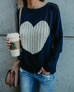 Love the navy color with the while heart.