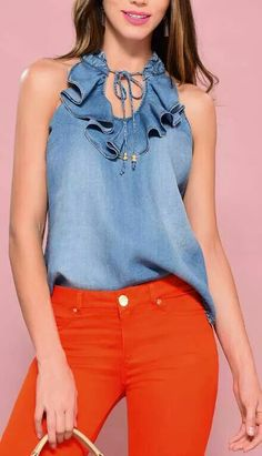 21 Tanks Tops For School Denim Fashion, Fashion Outfits, Womens Fashion, Fashion Tips, Fashion Trends, Chambray, Casual Outfits, Cute Outfits, Mode Jeans