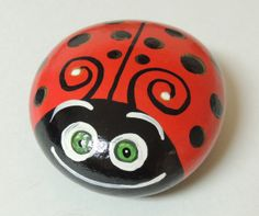 Hand Painted Ladybug Rock Paperweight Garden Art by juliemims, $10.00
