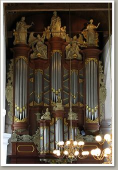 The Christian Müller organ in the Jacobine or Great Church, built between 1724 and 1727, Leeuwarden, Friesland, The Netherlands.