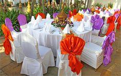 Orange and purple silkchair covers