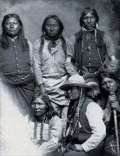 Domingo (sitting in center) with other Mescalero Apache men - no date