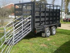Box Trailer with Stock Crate and portable yard