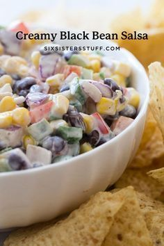 Our go-to salsa has always been Creamy Black Bean Salsa. With a full serving of vegetables, a tangy creamy sauce, and delicious beans and flavor it can't be beat! Yummy Appetizers, Appetizer Recipes, Delicious Desserts, Holiday Appetizers, Great Recipes, Favorite Recipes, Yummy Recipes, Cooking Recipes, Black Bean Salsa