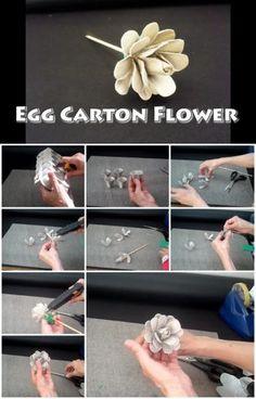 How to Make  Pretty Egg Carton Flower