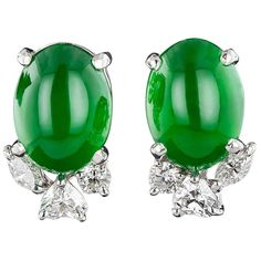 Imperial Jade and Diamond Earrings | From a unique collection of vintage stud earrings at http://www.1stdibs.com/jewelry/earrings/stud-earrings/
