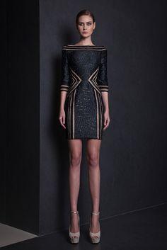 Three quarter sleeve Organza Fil Coupé Black short dress with boat neckline, featuring symmetrical cuts pattern.