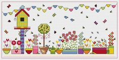 Birdhouse Bunting cross stitch kit