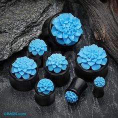 A Pair of Turquoise Resin Lotus Flower Ebony Wood Double Flared Plug Lip Piercing, Piercings, Wedding Plugs, Turquoise Flowers, Gauges Plugs, Stretched Ears, Body Jewellery, Cool Necklaces, Mini Tattoos