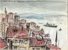 View of Bosphorus, from near Taksim, Istanbul, Turkey. Water soluble crayon and ink in home made sketchbook.