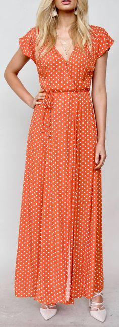 What a pretty polka dot maxi dress