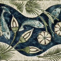 Fishes and lilies, by William De Morgan (1839-1917). England, 19th-20th century.
