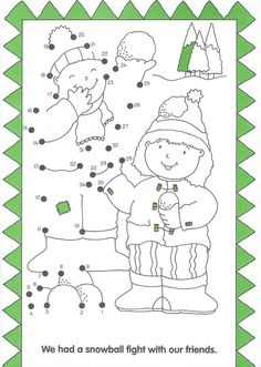 in de sneeuw, dot to dot, free printable Noel Christmas, Christmas Colors, Winter Christmas, Winter Activities, Christmas Activities, Dot To Dot Puzzles, Dot To Dot Printables, Christmas Worksheets, Christmas Coloring Pages