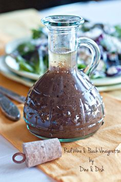 Red Wine Peach Vinaigrette - a light and so delicious vinaigrette for your salad. Would do 2:1 balsamic to oil though to cut fat/calories.