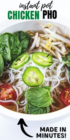 Instant Pot Pressure Cooker Chicken Pho Recipe! A rich broth full of tender chicken, scallions, Asian-inspired spices, and topped with bean sprouts, spinach, mint, cilantro, tomatoes, and spicy jalapeno, this pho made in a pressure cooker will rock your world.