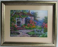 Beads embroidered picture 'Summer cottage'