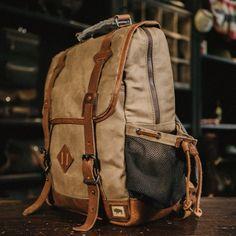 Dakota Vintage Commuter Backpack - Waxed Canvas & Leather - Navy