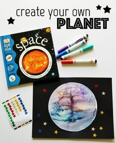 With all this talk about planets, we decided to design our own unique planets using just markers and water for a planet art project! Planets Preschool, Planets Activities, Space Preschool, Kindergarten Art Projects, Space Activities, Preschool Crafts, Steam Activities, Classroom Projects, Daycare Crafts