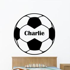 Personalised Football with Boys Name Wall Sticker - Childrens Bedroom Sport Art Vinyl Decal Transfer - by Rubybloom Designs Boys Football Bedroom, Football Wall, Football Boys, Sports Decals, Sports Art, Kids Sports, Vinyl Decals, Boys Bedroom Decor, Bedroom Themes