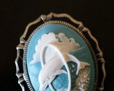Gorgeous Dolphin CAMEO Brooch- 20% off Jewelry SALE by altcollect. Explore more products on http://altcollect.etsy.com
