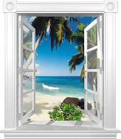 open door to beach wall mural | Tahiti Window Mural Window Mural