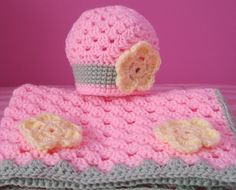 Baby girl Blanket matching hat available. by TalicakeCrochet, $30.00