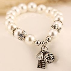 """Chic Series"" Pearl Abacus Pendant Bracelet"