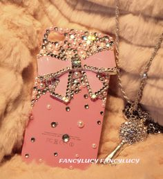 iphone 5 case - Pink iPhone 5 case cover - Cute iPhone 5 bow case - Crystal iPhone 5 bling case - Pearl iphone 5 case - Bling iphone 5 case