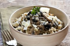 Gluten Free Mushroom Risotto Recipe: Made with Massel Bouillon Ultracubes, or 4 Massel 7's, Vegetable Style. #lowsalt #recipe #kosher #vegetarian #risotto
