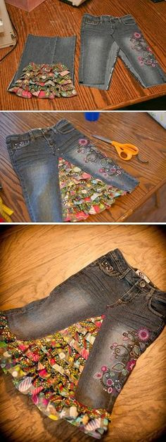Learn how to turn your jeans into a stylish skirt of any length. We have included a short video to show you how to deconstruct your jeans and also how to add fabric inserts. You'll love the Upside Down Jeans Dress and the Shorts too! More