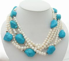 Holiday Party,Beaded Necklace,turquoise necklace,Beaded Jewelry,Pearl Necklace With Turquoise Pearl