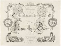 "Kalligrafie met de spreuk ""Een onvermoeide arbeid komt alles te boven"", 1786, Carel Frederik Konsé, Coenradus Henricus Koning, A. Hulk, 1786"