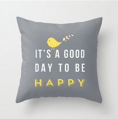 Happy pillow  16x16 with pillow insert - Decorative throw pillows grey yellow white pillow cover home decor ornament decoration housewares. $40.00, via Etsy.
