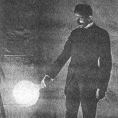 """drnikolatesla: """"Nikola Tesla lighting a disconnected vacuum bulb of candle power by high-frequency currents — Photograph taken by the light of the bulb itself, exposure about two seconds. Nikola Tesla, Tesla S, Tesla Nikolai, Wireless Light Bulb, Tesla Lighter, Einstein, Tesla Quotes, Zero Point Energy, Candle Power"""