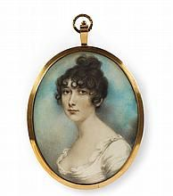 An English portrait miniature of a young lady in a white dress.