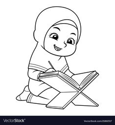 Moslem girl reading koran bw vector image on VectorStock Ramadan Crafts, Ramadan Decorations, Islam For Kids, Girl Reading, Fabric Painting, Islamic Art, Art For Kids, Activities For Kids, Coloring Pages