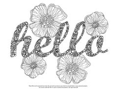Hello Coloring Monday :) Download your coloring page here: http://valentinadesign.com/images/printables/hello_04_15_VH.pdf