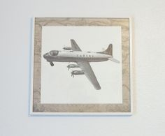 Project Nursery - White Vintage Boy Airplane Nursery Wall Art of Airplane